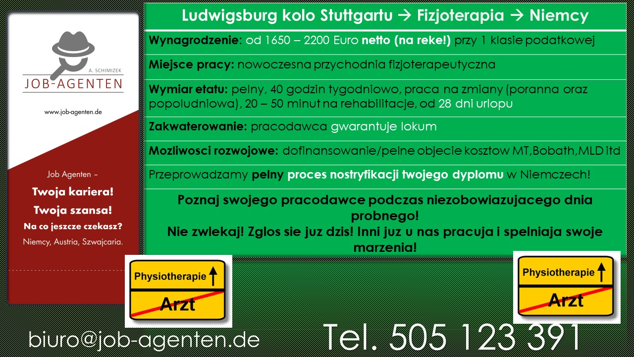 ludwigsburg job physiotherapie job agenten anna. Black Bedroom Furniture Sets. Home Design Ideas